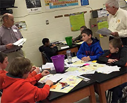 Rotarian Bill Grazio and District 7750 Past District Governor Bruce Baker provide students with practical information about preparing for the working world during a recent Junior Achievement program.