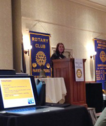 Shirey speaking to her club